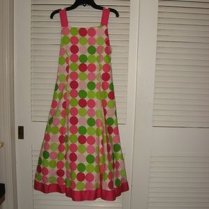 Girls Cotton Party Dress Pink/Green Size 16